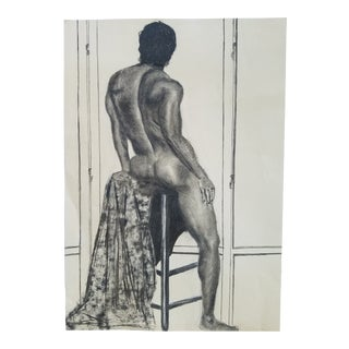 Charcoal Drawing of a Male For Sale