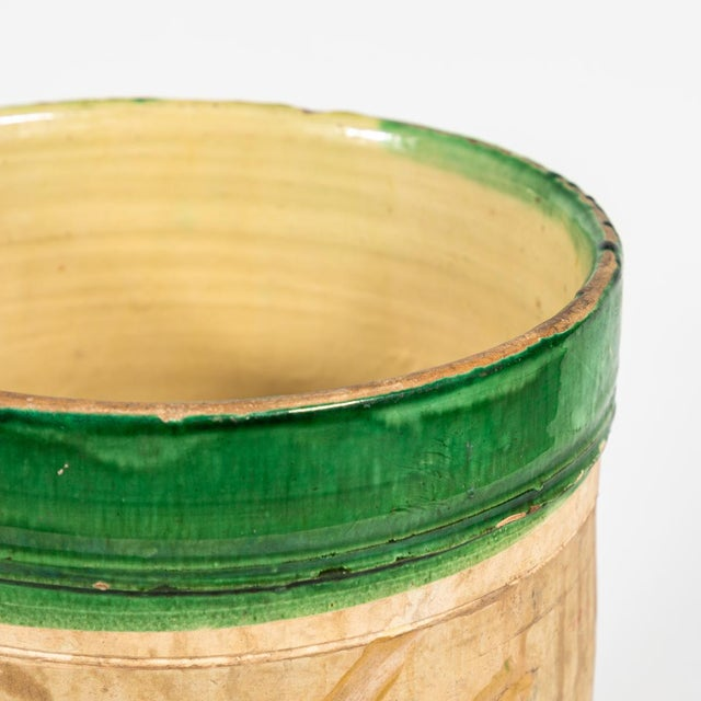 Rustic Green Banded Pot From Early 20th Century England For Sale - Image 3 of 5
