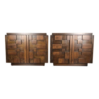 1970s Brutalist Lane Furniture Wooden Nightstands - a Pair