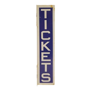 1930s Double Sided Tickets Porcelain Sign For Sale
