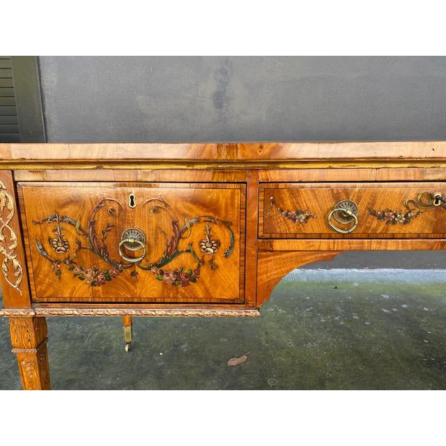 English Fine Early 19th C. English Painted Satonwood Desk With Leather Top For Sale - Image 3 of 13
