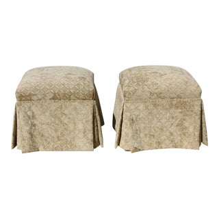 Vintage Pair of Ming Feet Upholstered Skirted Ottomans / Stools For Sale