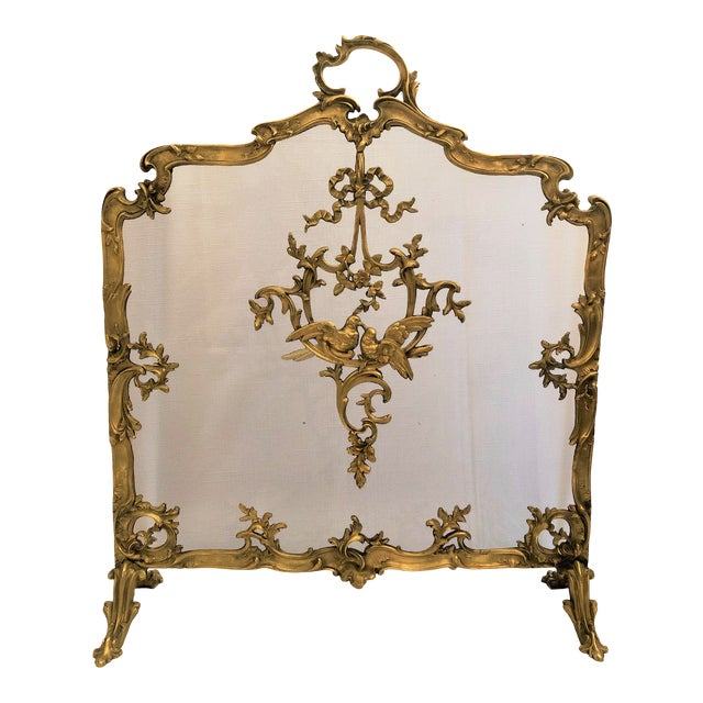 Antique French Late 19th Century Louis XV Bronze Firescreen. For Sale