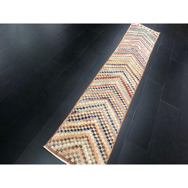 Traditional Vintage Geometric Design Turkish Anatolian Wool Runner For Sale - Image 3 of 11