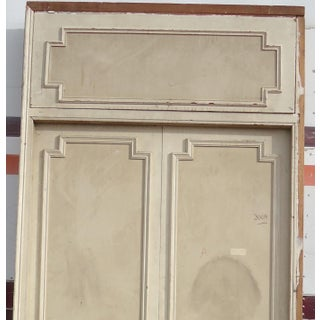 Antique White Geometric Design & Solid Header Transom Doors - A Pair Preview