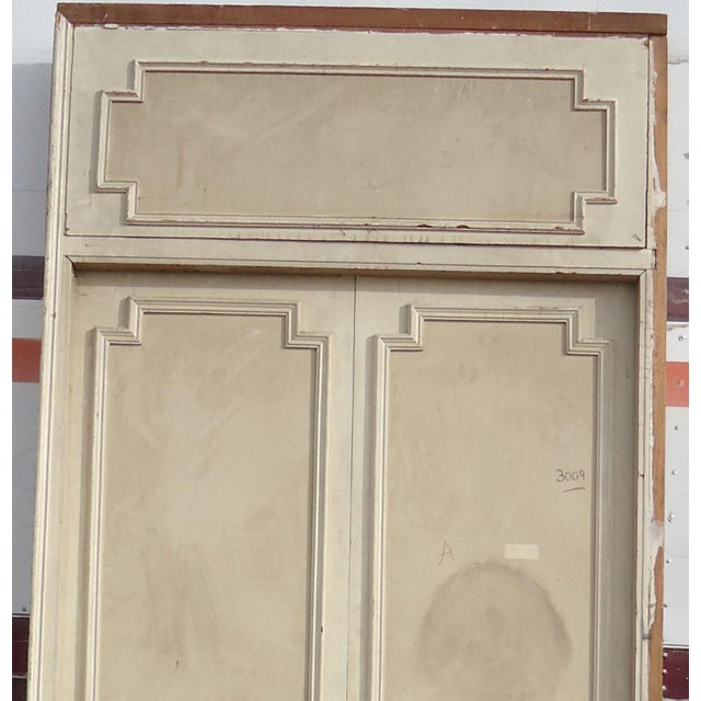 Antique White Geometric Design & Solid Header Transom Doors - A Pair - Image 2 of 10