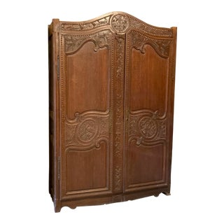 Asian Auburn-Brown Wood Antique Armoire For Sale