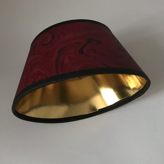 Vintage red marbleized paper bouillotte lamp shade chairish vintage red marbleized paper bouillotte lamp shade image 8 of 11 aloadofball Images
