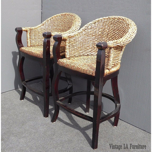 Tiki Palm Beach Style Woven Wicker Bar Stools - A Pair - Image 2 of 11