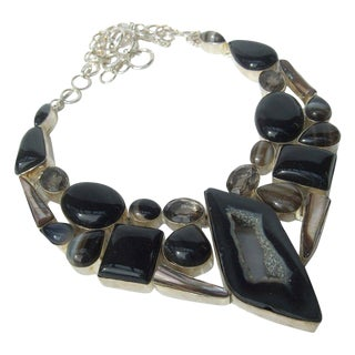 Sterling Stone Artisan Statement Necklace For Sale