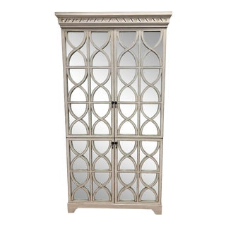 Shabby Chic Oly Studio Antiqued White/Silver Elisabeth Armoire For Sale