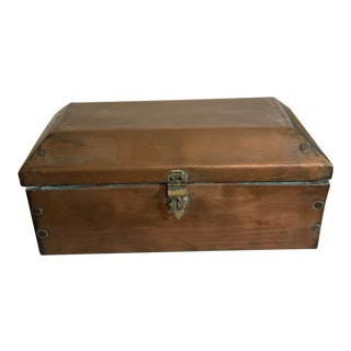 Antique 1800s Copper Clad Coffin Shaped Box With Lock For Sale