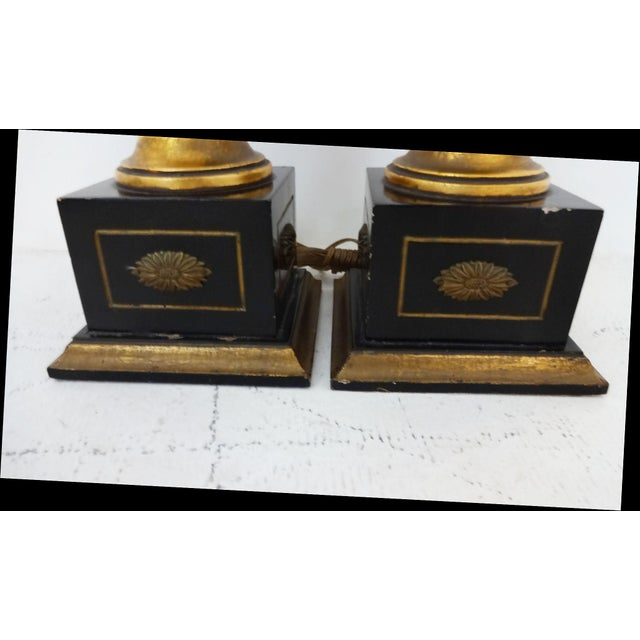 Vintage Gilded Wood Lamps - A Pair For Sale In New York - Image 6 of 7