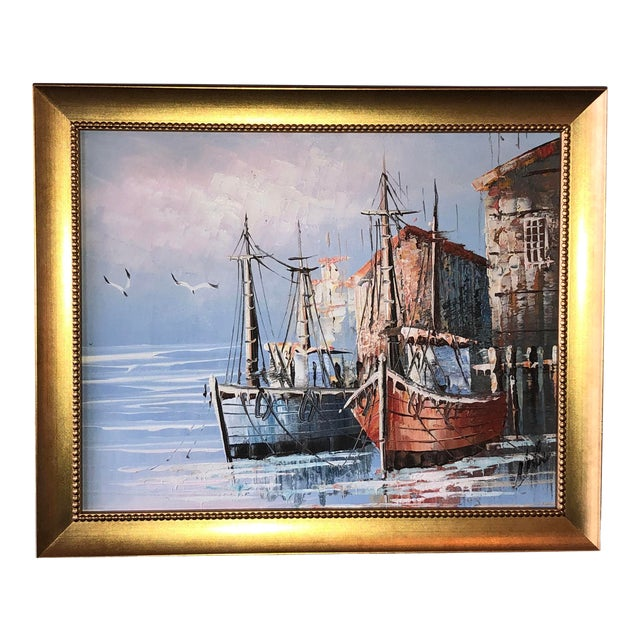 French Boats in Harbor Painting For Sale