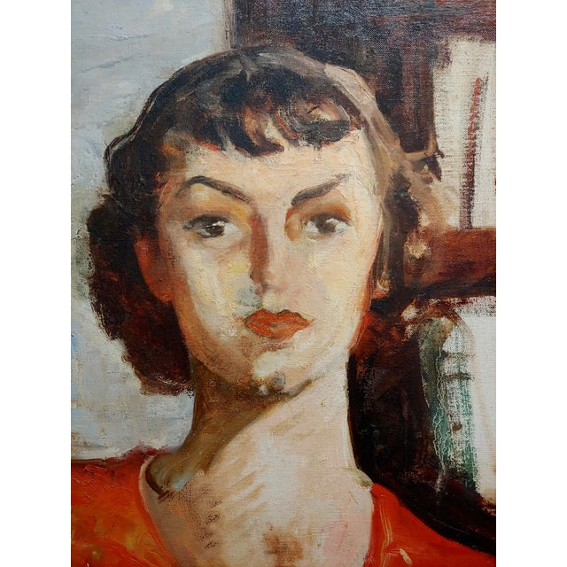 Antonia Greene -1930s Portrait of a Woman in Red -Oil Painting For Sale - Image 4 of 6