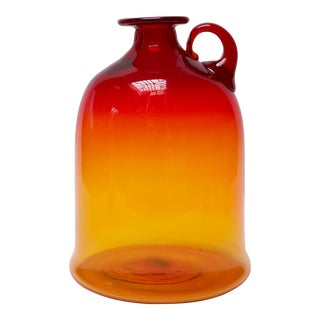Blown Glass Amberina Tangerine Jug Designed by John Nickerson for Blenko For Sale