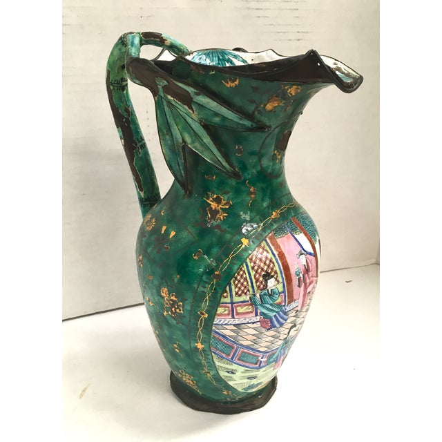 Asian Enamel on Copper Pitcher For Sale - Image 9 of 11
