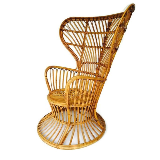 Franco Albini Style Vintage Bamboo Peacock Chair - Image 5 of 6