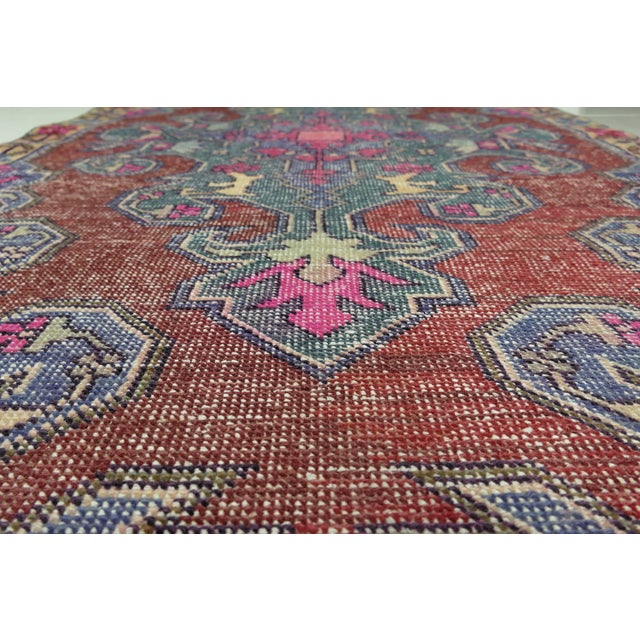 1970s Vintage Turkish Handwoven Rug - 4′3″ × 7′1″ For Sale In Seattle - Image 6 of 10