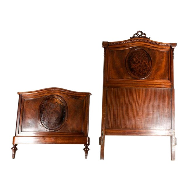 Copper 19th C. French Burl Walnut Single Beds For Sale - Image 8 of 8