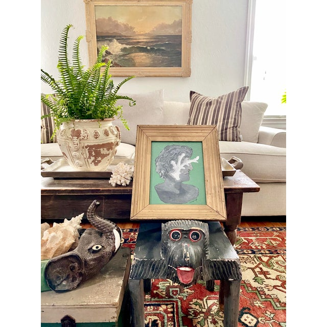 Figurative Vintage Roman Bust & Coral Fragment Painting, by Memo Faraj For Sale - Image 3 of 7