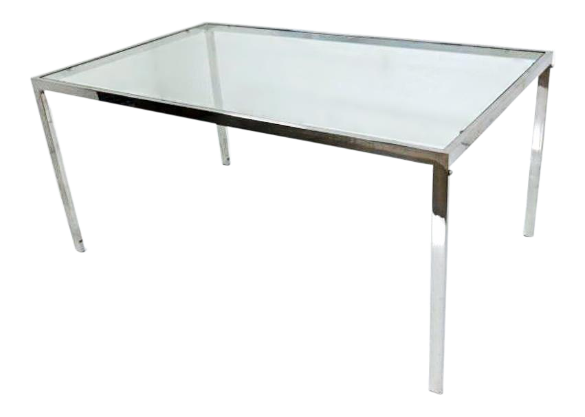 Milo Baughman Chrome Glass Top Extension Dining Table