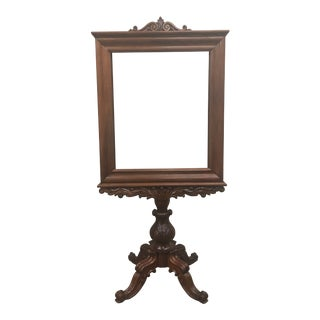 English Antique Mahogany Expandable Fireplace Screen on Pedestal For Sale