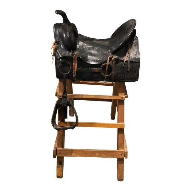 20th Century Tooled Leather Saddle and Rustic Wood Stand For Sale - Image 9 of 9