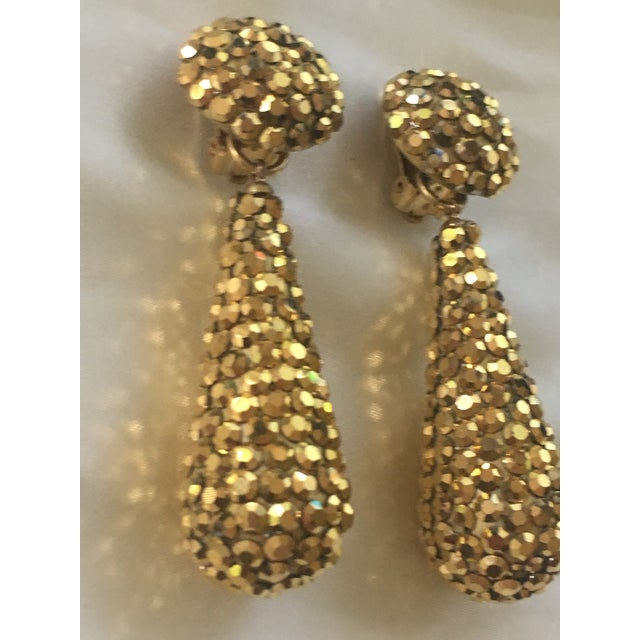 Contemporary Gold Crystal Richard Kerr Drop Earrings For Sale - Image 3 of 4