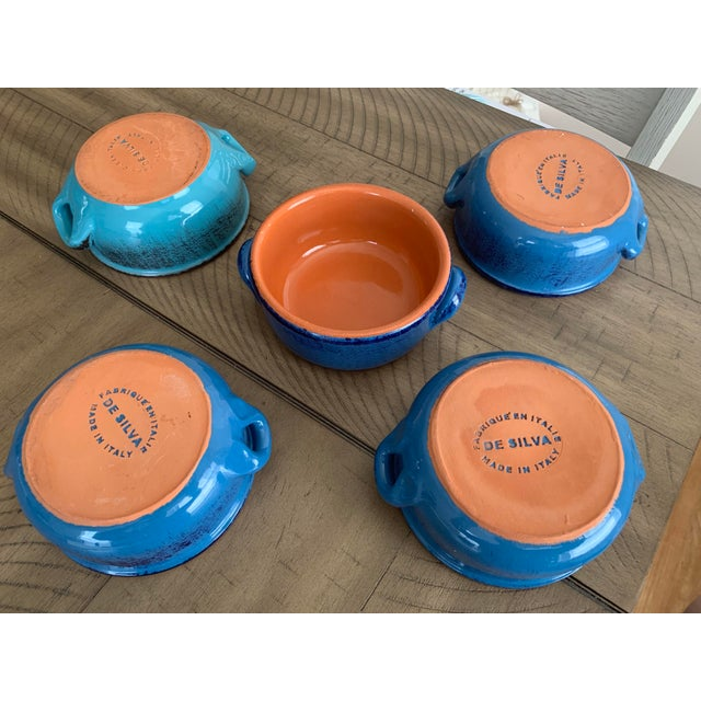 Vintage DeSilva Rustic Painted & Glazed Terra Cotta Soup Bowls With Handles- Set of 5 For Sale - Image 10 of 12