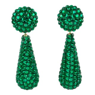 Richard Kerr Dangle Clip on Earrings Emerald Green Crystal Rhinestones Paved For Sale