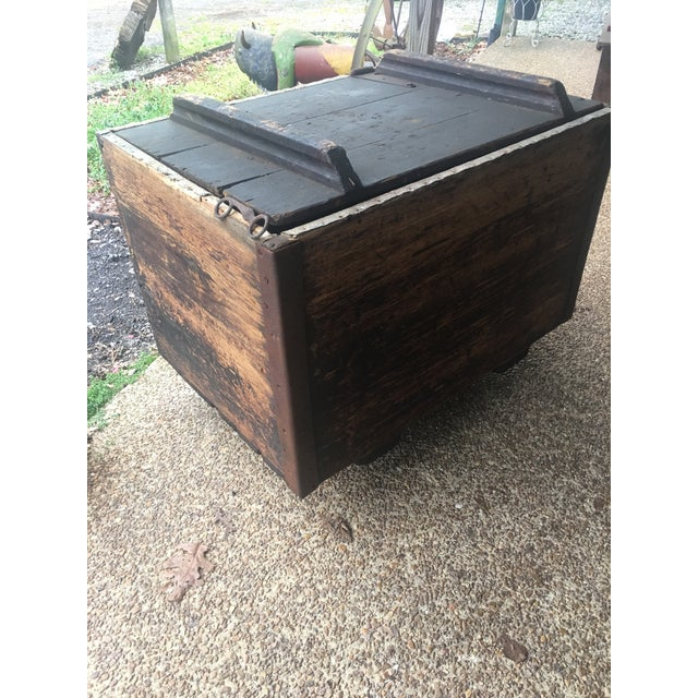 Antique Zinc Lined Wood Icebox For Sale - Image 6 of 8