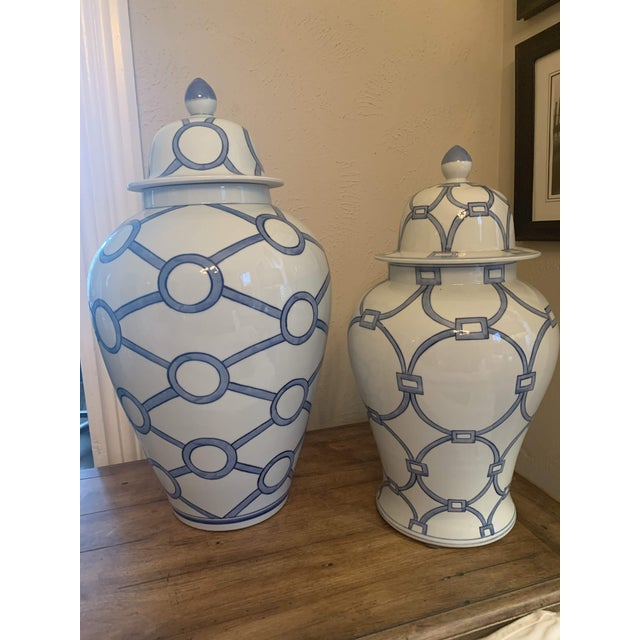 Blue and White Linked Circles Porcelain Temple Jar For Sale - Image 12 of 13