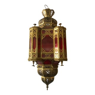 Moroccan Brass and Red Glass Lantern For Sale