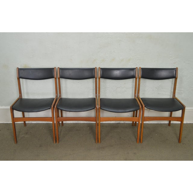 Black Danish Modern Teak & Black Leather Dining Chairs - Set of 4 For Sale - Image 8 of 11