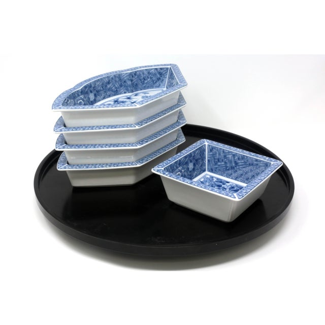Vintage Japanese Blue and White Lazy Susan - Set of 6 For Sale - Image 10 of 13