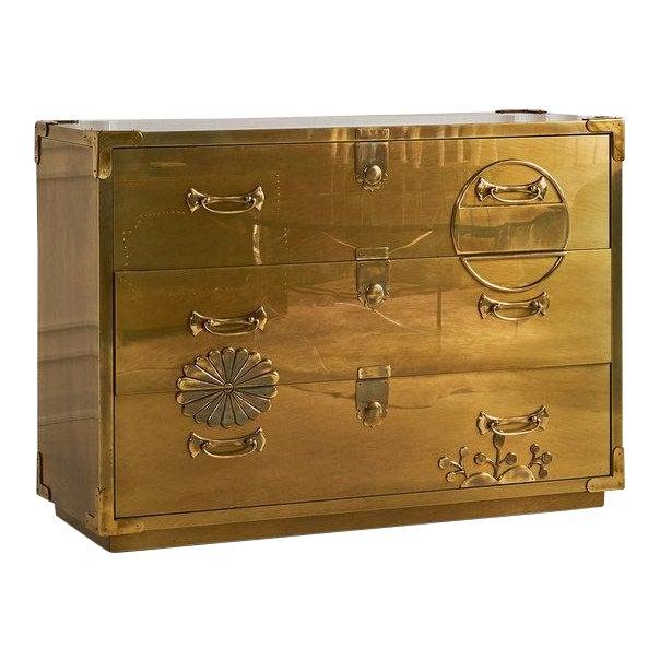 Brass Clad Three Drawer Dresser by Mastercraft For Sale