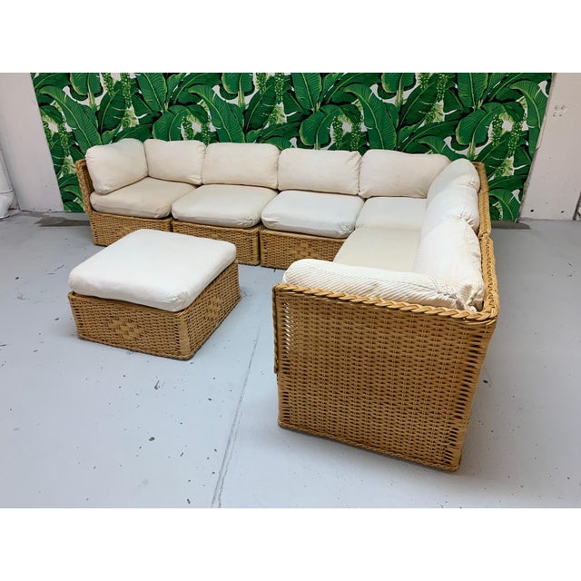 White Seven Piece Wicker Sectional Sofa in the Manner of Michael Taylor For Sale - Image 8 of 9