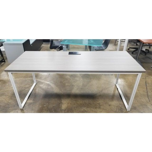 West Elm Industrial Grey Desk For Sale In Chicago - Image 6 of 6