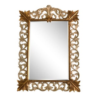 1960s Gold Leaf Wood Scroll Mirror