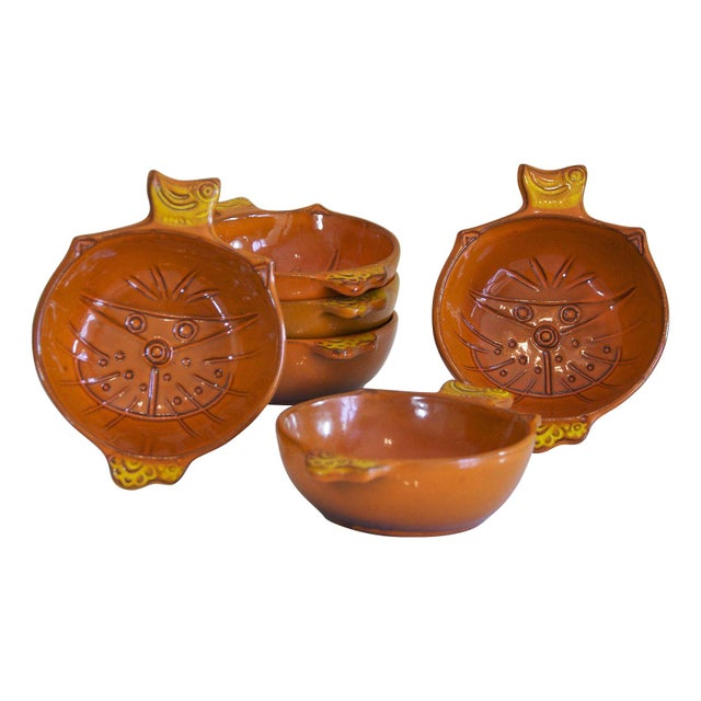 Vintage Orange Kitty Face Pottery Bowls - Set of 6 - Image 1 of 5
