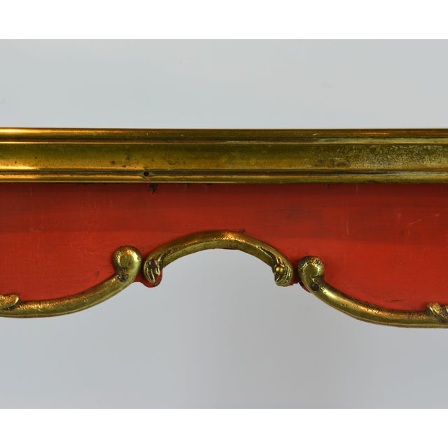Red French Provincial Painted & Bronze-Mounted Kidney Shape Accent Table For Sale - Image 8 of 12