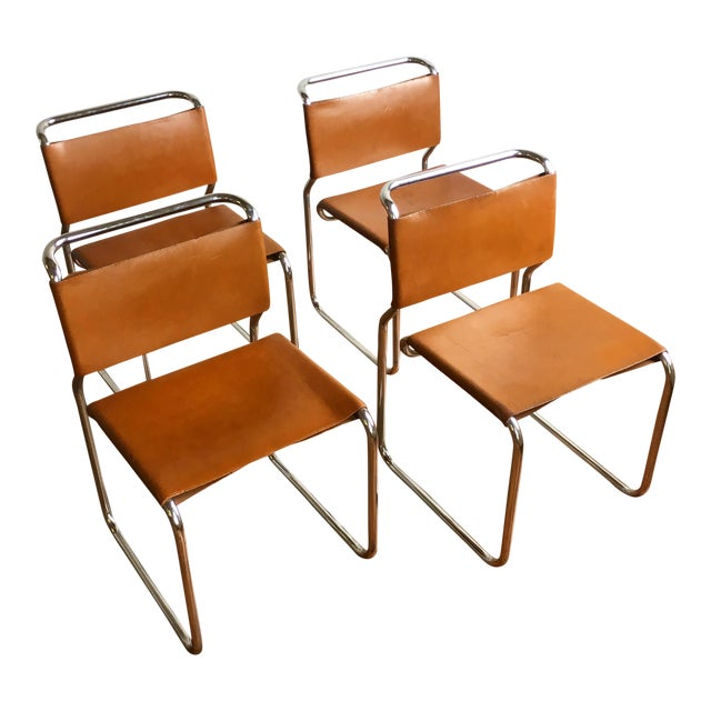 Vintage Oiled Leather & Chrome Cantilever Chairs by Nicos Zographos - Set of 4 For Sale