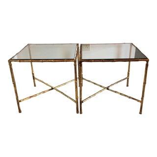 Italian Gilt Faux Bamboo Tables - A Pair