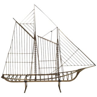 Large Curtis Jere Brass Ship Sculpture, Circa 1976