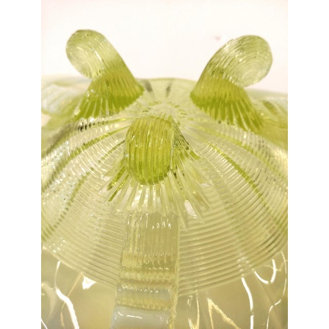 Mid-Century Green Glass Footed Bowl For Sale - Image 5 of 10