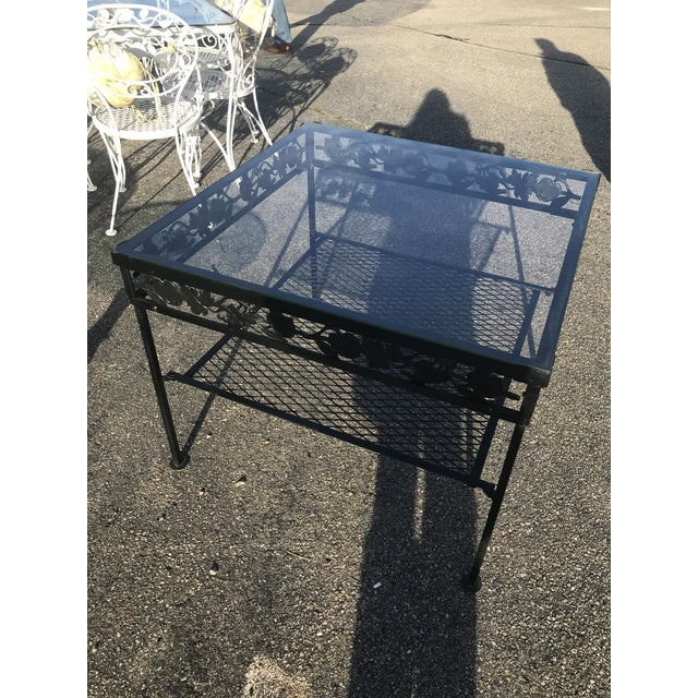 Mid 20th Century Square Glass Top Iron Outdoor Table For Sale - Image 5 of 7
