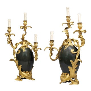 Late 19th Century Henry Dasson Gilt and Patinated Bronze Three Light Candelabra, Dated 1886 - a Pair For Sale