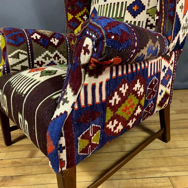 1940s Danish Wingchair, Semi-Antique Turkish Kilim Cover For Sale - Image 9 of 12