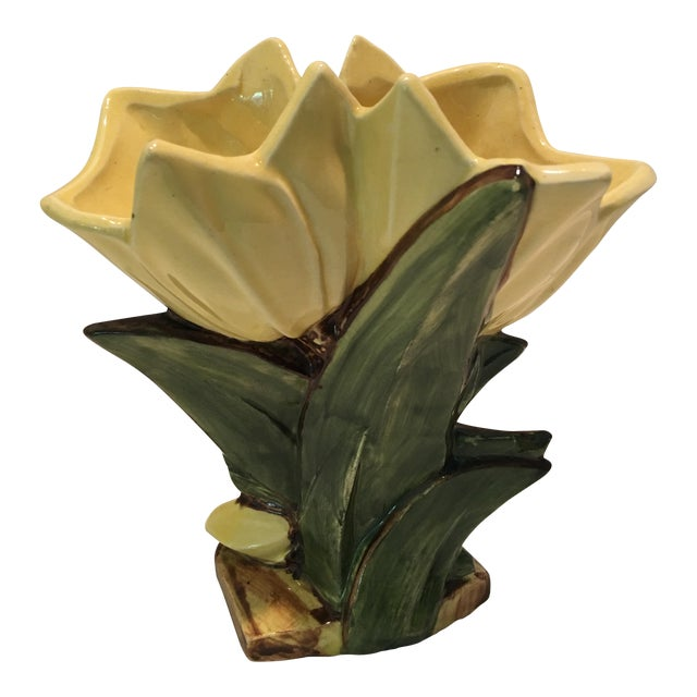 Vintage Mccoy Double Tulip Yellow Vase Chairish